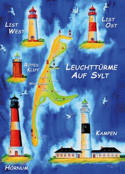 Postkarte Leuchttürme auf Sylt