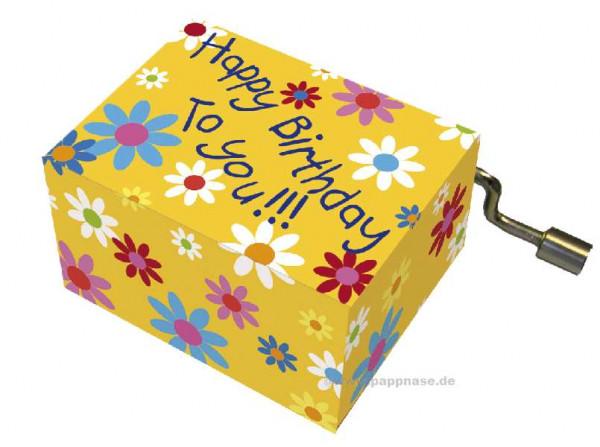 Kurbelspieluhr Happy Birthday Blüten