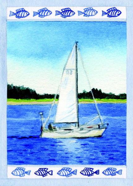 Postkarte Segelboot 1