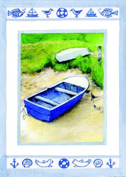 Postkarte Ruderboot