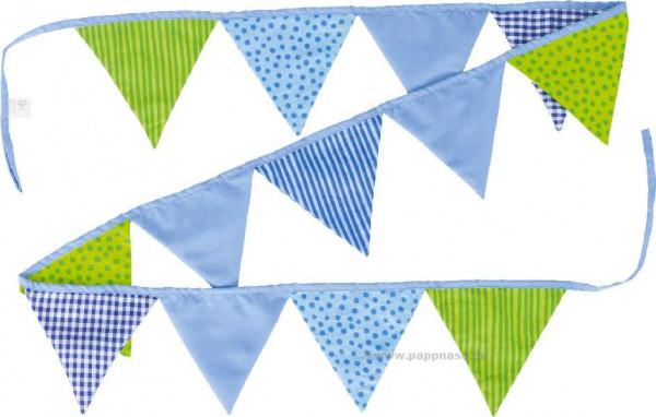 Baumwoll-Wimpelkette blau-grün