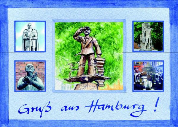 Postkarte A6 Collage Denkmäler