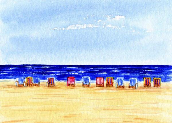 Postkarte Viele Strandkörbe