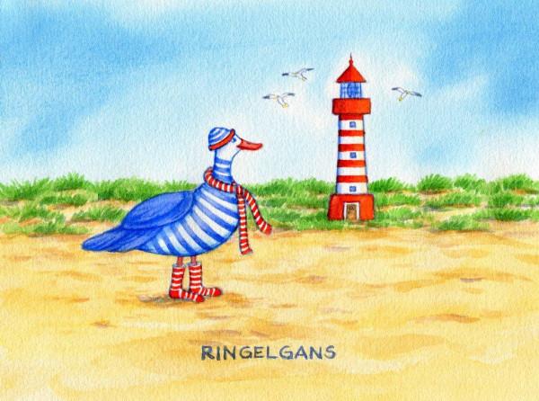 Postkarte Küstentiere, Ringelgans