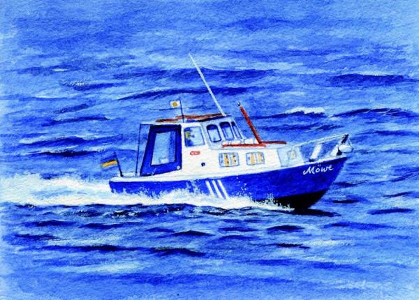 Postkarte Motorboot