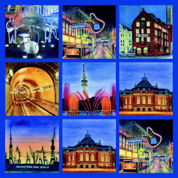 Displaytuch 15x15 cm Hamburg bei Nacht
