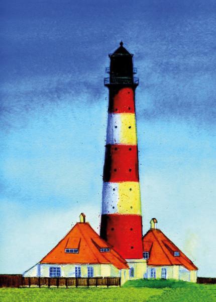 Postkarte Westerhever Leuchtturm