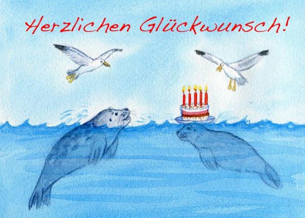 Postkarte A6 Robben, Herzlichen...