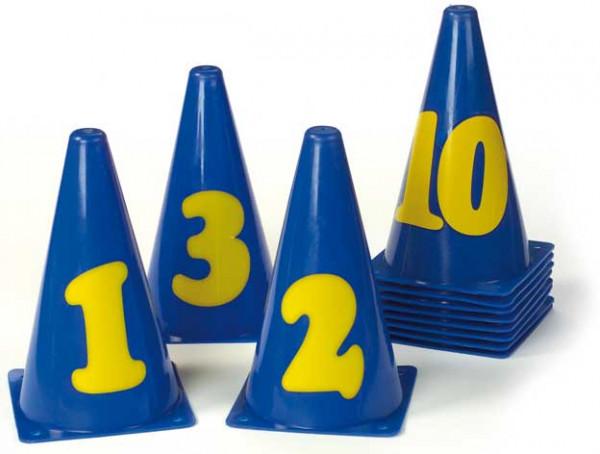 Markierungskegel mit Zahlen, 11 Stück
