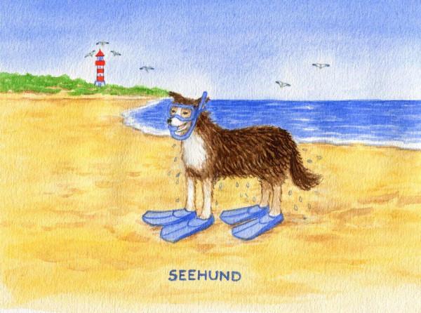 Postkarte A6 Küstentiere, SeeHund