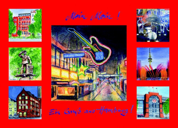 Postkarte A6 Collage Reeperbahn