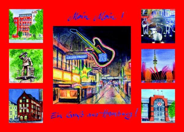 Postkarte A6 Collage Reeperbahn