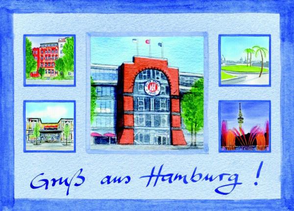 Postkarte A6 Collage Millerntor