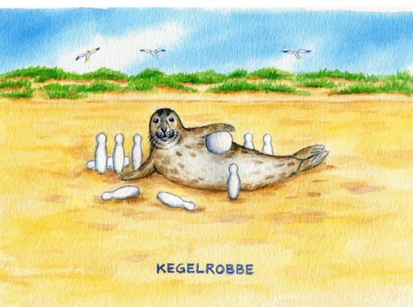 Postkarte A6 Küstentiere, Kegel-Robbe