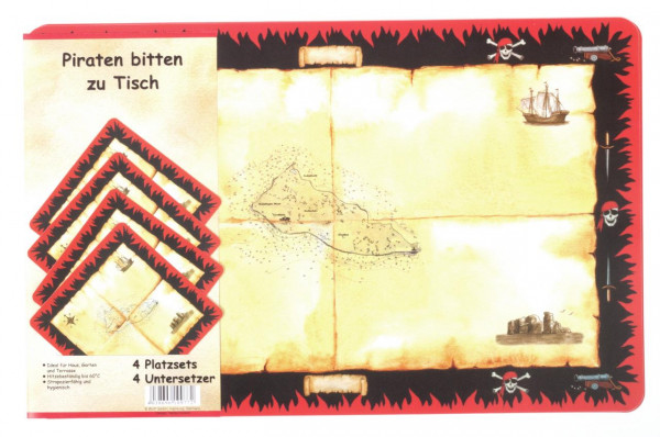 Platzsets PP, 4 Stück Piraten-Schatzkarte