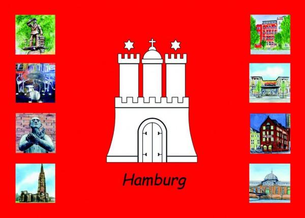 Postkarte A6 Collage Hamburg Wappen 3