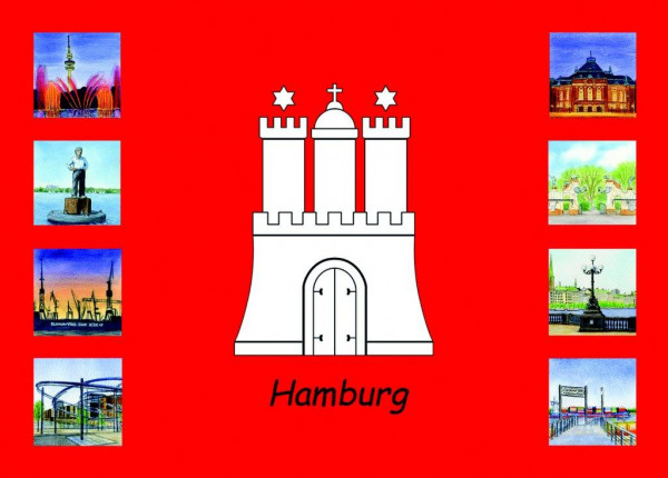 Postkarte A6 Collage Hamburg Wappen 2