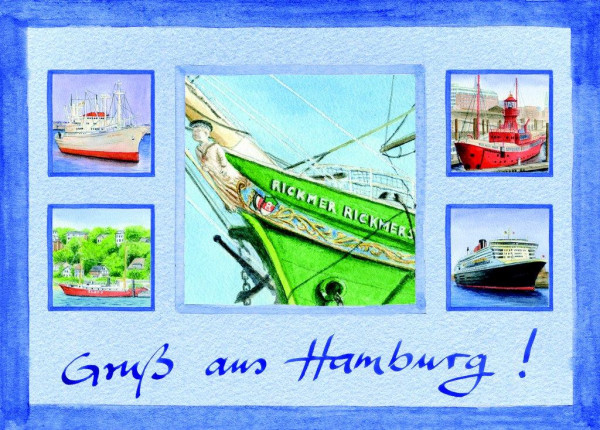 Postkarte A6 Collage Schiffe
