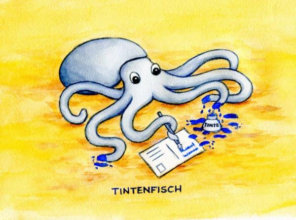 Postkarte Küstentiere, Tintenfisch