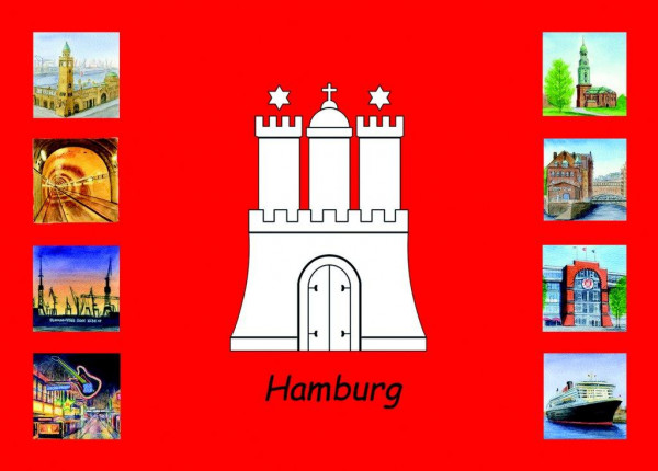 Postkarte A6 Collage Hamburg Wappen 1