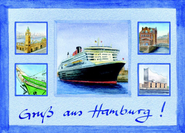 Postkarte A6 Collage Queen Mary 2