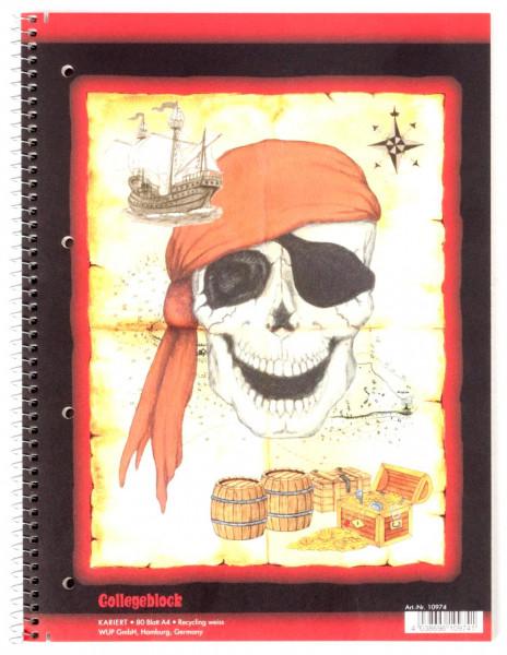 Spiralblock A4 kariert 80 Blatt Piraten-Schatz