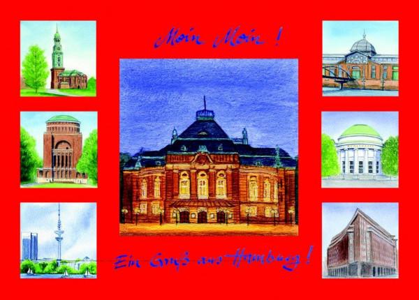Postkarte A6 Collage Laeiszhalle, rot