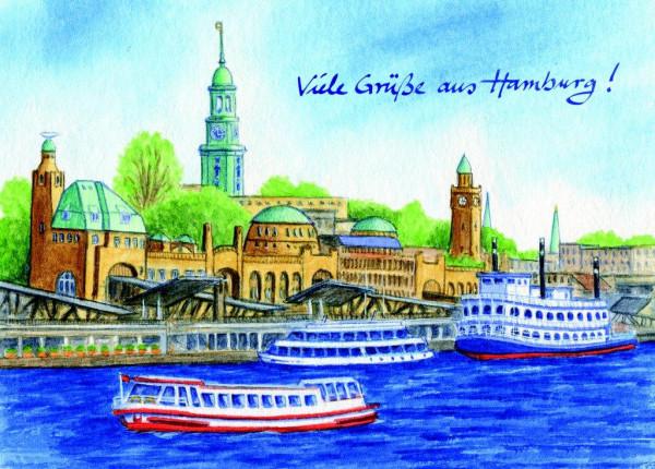 Postkarte A6 Hamburg-Panorama 2