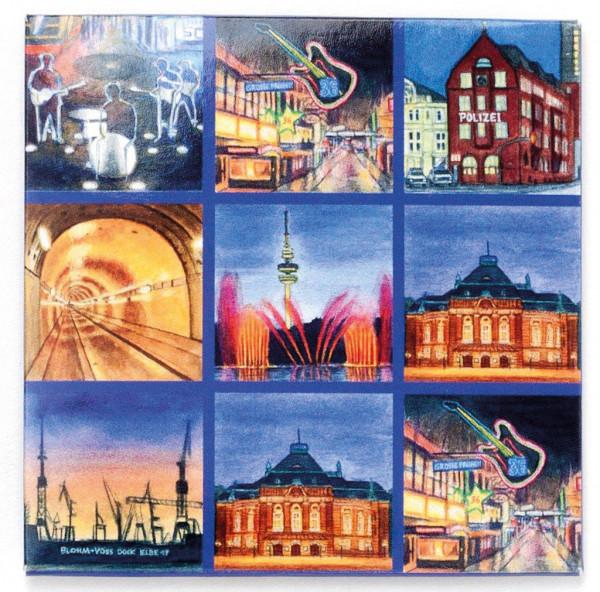Magnetschild Hamburg bei Nacht