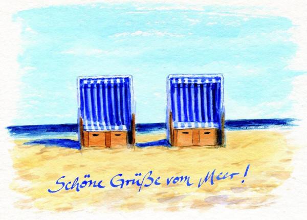Postkarte Zwei Strandkörbe, mit Gruß