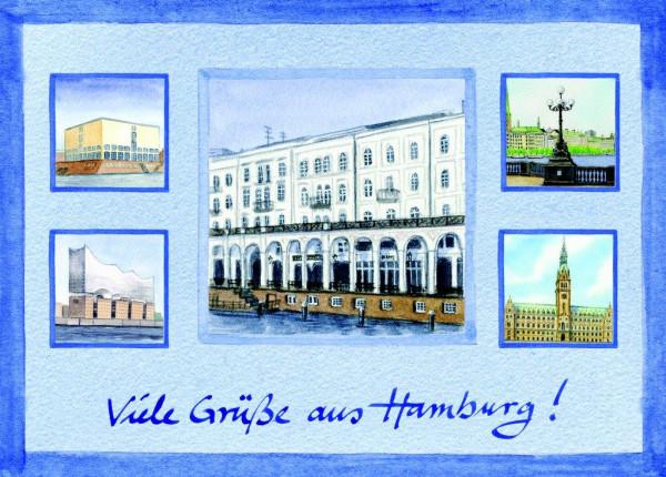Postkarte A6 Collage Alsterarkaden