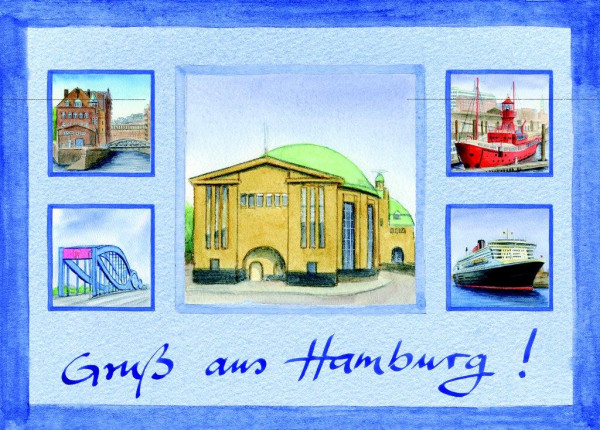 Postkarte A6 Collage Alter Elbtunnel