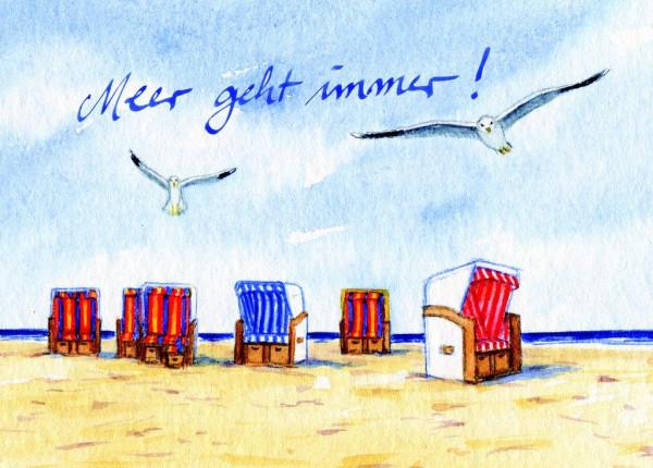 Postkarte Sechs Strandkörbe