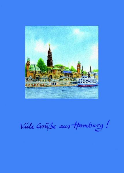 Postkarte A6 Hafenpanorama