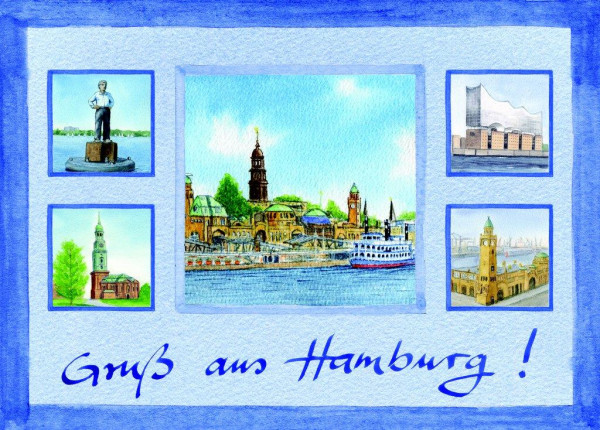 Postkarte A6 Collage Hafen