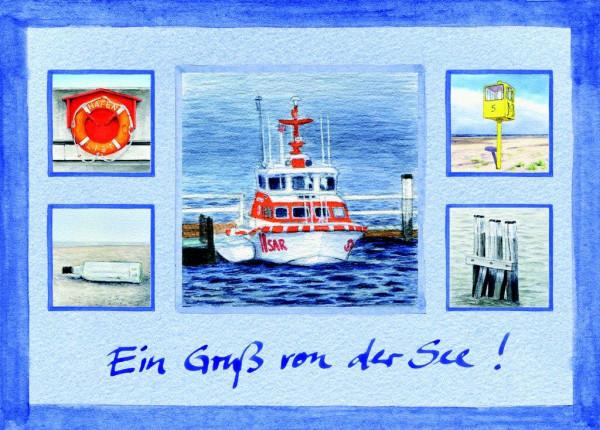 Postkarte Collage Rettungskreuzer