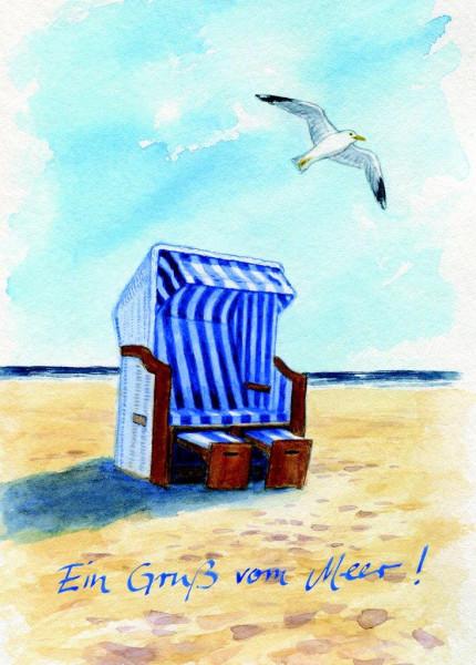 Postkarte Strandkorb-vorne, mit Möwe
