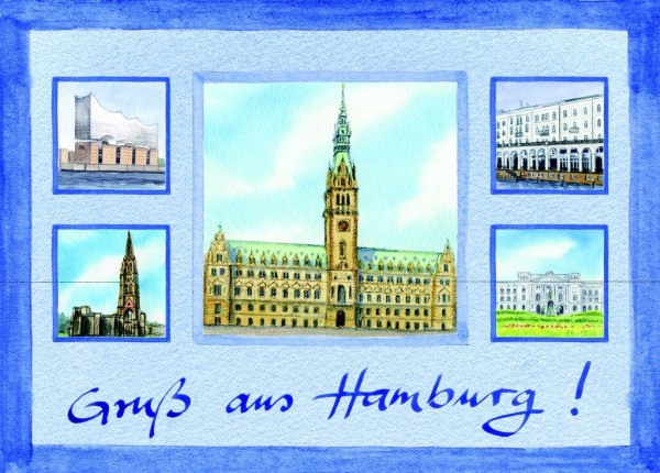 Postkarte A6 Collage Rathaus