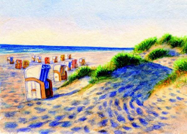 Postkarte Strandkörbe/Dünen