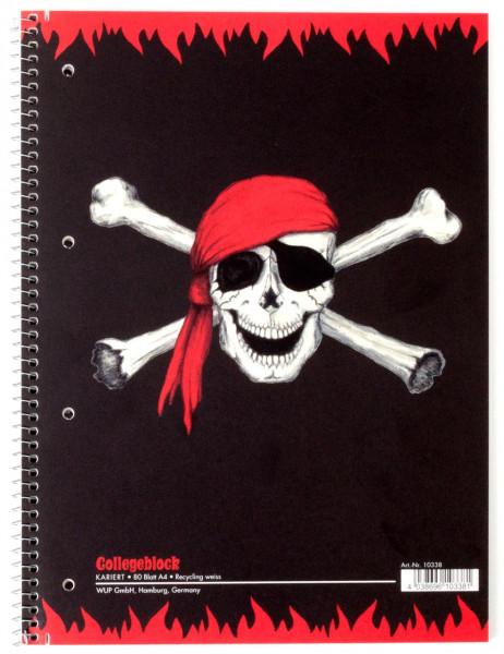 Collegeblock A4 kariert 80 Blatt Piratenflagge