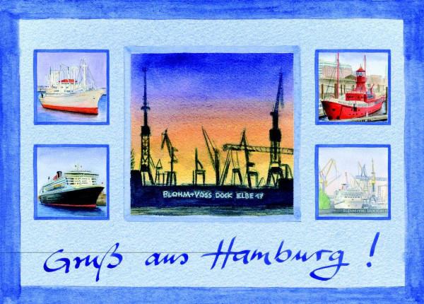 Postkarte A6 Collage Dock Blohm Voss