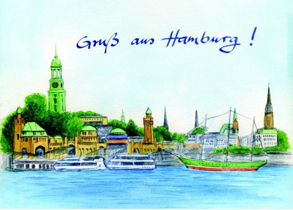 Postkarte A6 Hamburg-Panorama 1