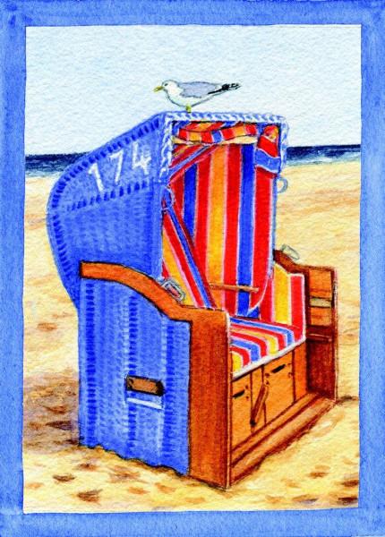 Postkarte Strandkorb-seitlich