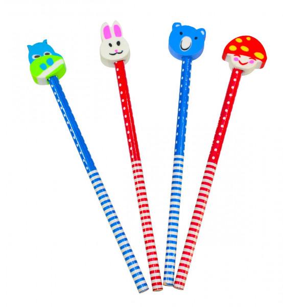Lustige Bleistifte mit Radierköpfen