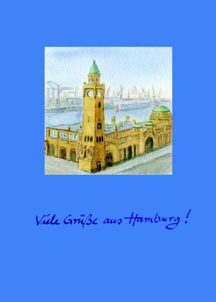 Postkarte A6 Landungsbrücken