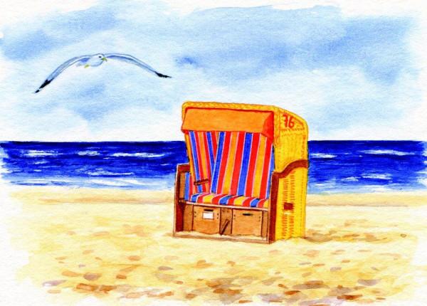 Postkarte Strandkorb und Möwe