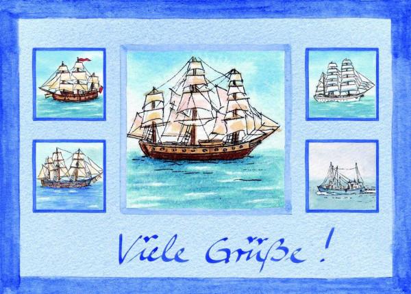Postkarte A6 Collage Schiffe