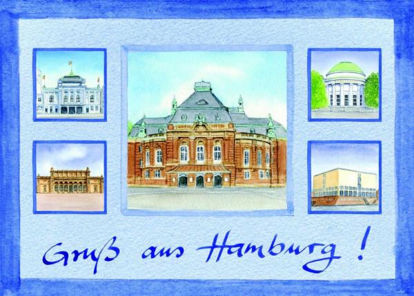 Postkarte A6 Collage Laeizhalle