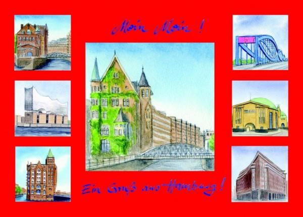 Postkarte A6 Collage Speicherstadt, rot