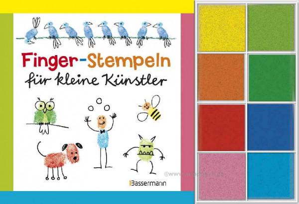 Fingerstempeln für kleine Künstler - Buch + Stempelfarben